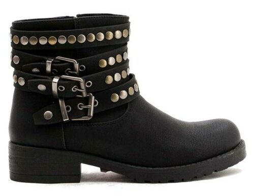 Womens Flats Low Heels Strappy Studded Ankle Biker Boots Ladies Work Shoes Size
