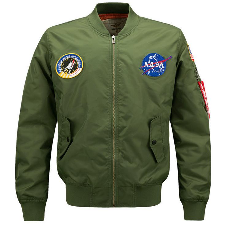 CORIRESHA Mens NASA Embroidery Badge Slim Fit Bomber Jackets Zipper Windbreaker