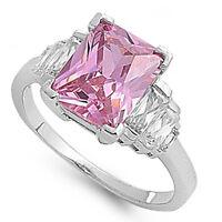 4ct Elegant Emerald Cut Pink Topaz & Cz Ring .925 Sterling Silver Sizes 5-9