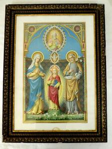 Tres-belle-Lithographie-Religieuse-XIXeme-La-sainte-famille