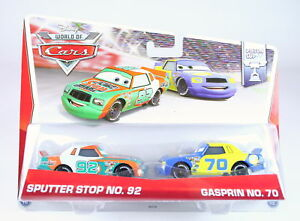 DISNEY-CARS-Piston-Cup-2-pack-SPUTTER-STOP-GASPRIN-1-55-diecast-toys-NEW