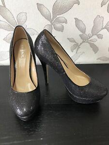 Ladies Black Glitter High Heels Uk Size