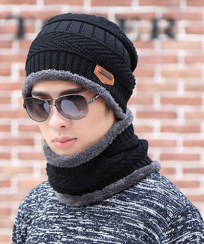 Mens Knit Beanie Hat Warm Fleece Slouchy Ski Fashion Hat