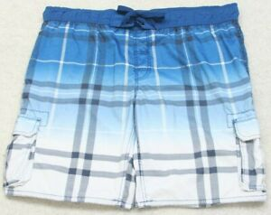 Arizona-Blue-White-Swimming-Cargo-Board-Shorts-XXL-Trunks-Man-039-s-Polyester-Men-039-s