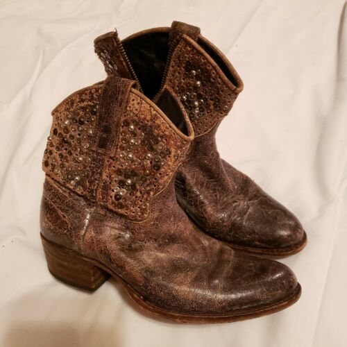 Sendra Leather Western Ankle Cowboy Boots Size US