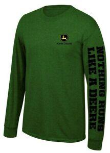 NEW John Deere Green Long Sleeve  Logo T-Shirt Size M, L, XL, 2X,