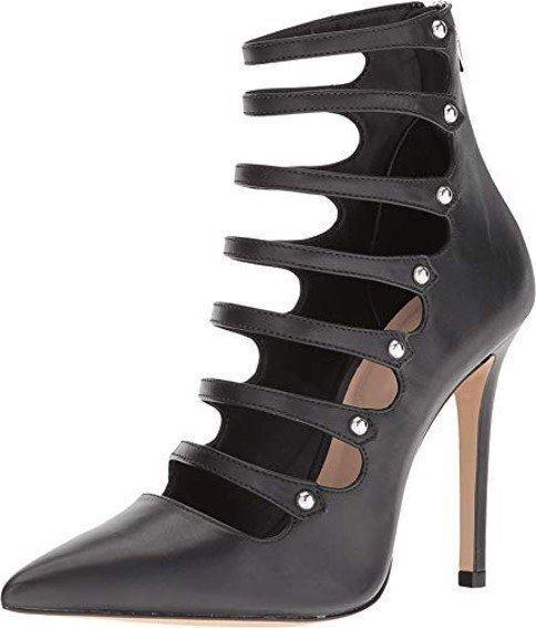 Aldo Rossini Cuero Bomba De Salón Zapatos de Taco Taco Taco Alto Puntera estrecha Zapatos, Negro  el estilo clásico