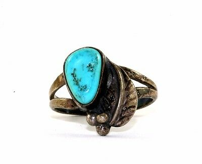 WOOF SIGNED TURQUOISE BLOOMING NAVAJO RING SZ 5.5 925 STERLING RG 1525