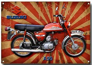 SUZUKI 1975 A50 CLASSIC MOPED METAL SIGN.GARAGE SIGN.RETRO,VINTAGE MOPED.