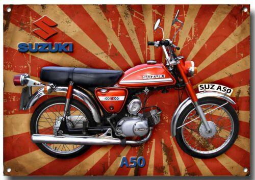 LGE A3 SIZE SUZUKI 1975 A50 CLASSIC MOPED METAL SIGN.GARAGE SIGN.VINTAGE MOPED.