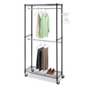 garment rack closet organizer double rod clothes storage hanging rails shelves ebay. Black Bedroom Furniture Sets. Home Design Ideas