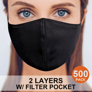 500 Face Mask Double Layers Reusable Washable Cloth Fabric Pm2 5 Filter Pocket Ebay