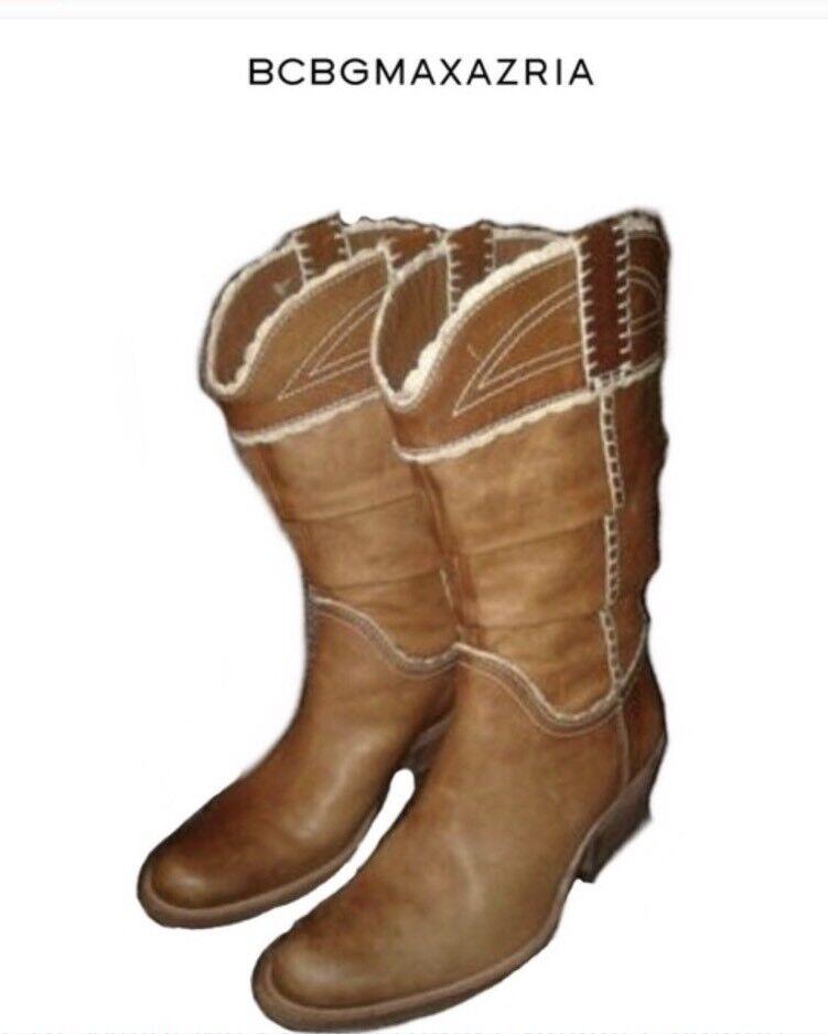 BCBGMAXAZARIA Crocheted Edges Brown Cowboy Boots Sz 7M MRSP