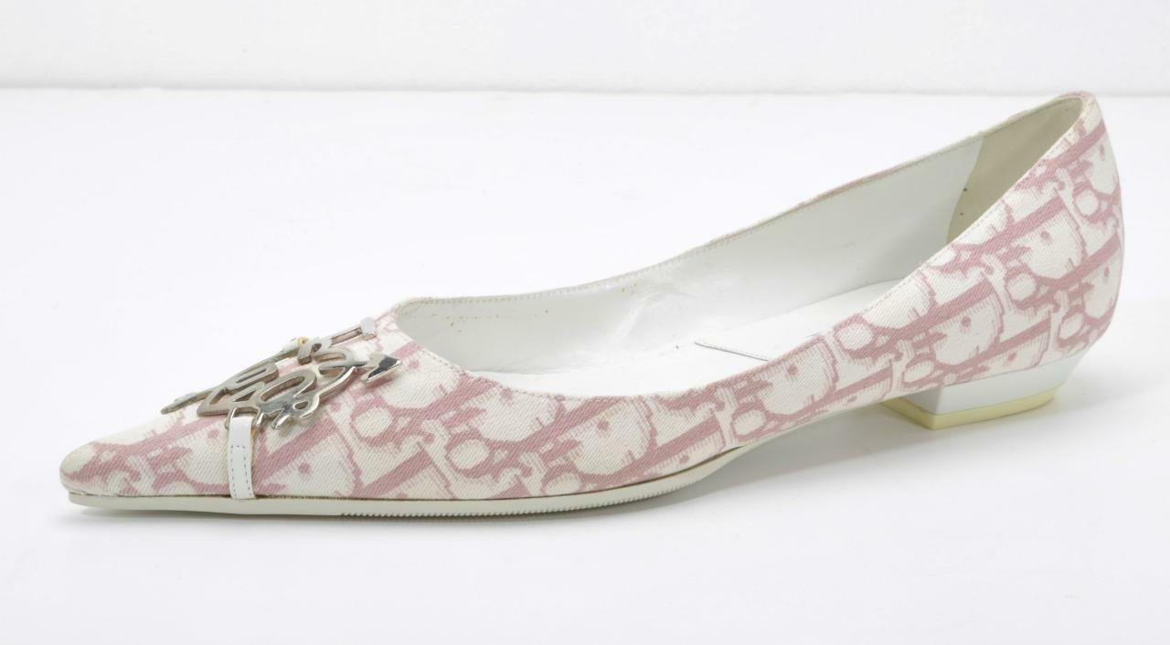 DIOR Womens White + Pink LOGO DIORISSIMO Silver Pointed-Toe Pointed-Toe Pointed-Toe Ballet Flat 7-37 NEW d74ece