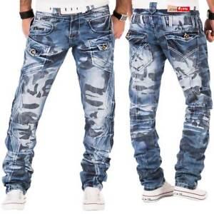 Kosmo-Lupo-Herren-Jeans-Hose-Verwaschen-Clubwear-Camouflage-Used-Vintage-Blau