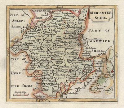 Alert Antique County Map Of Worcestershire By John Seller / Francis Grose C1780 100% Guarantee