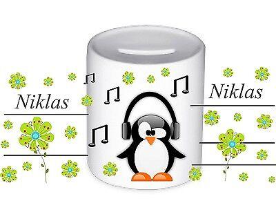 Spardose Porzellan Pinguin Noten mit Wunschname