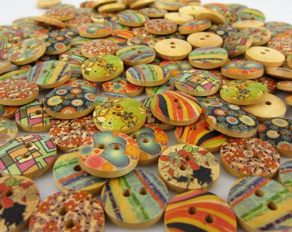 "100pcs 5/8"" 15mm Mixed Flower Heart Pattern Wood Buttons Fit Sewing Scrapbook"