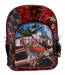 8f25f0b39723 Details about PLANES BACKPACK! RED CHECKS OWN THE SKY LARGE SCHOOL BAG  DISNEY PIXAR 16