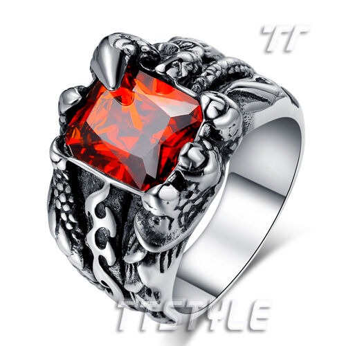 High Quality TTstyle 316L S.Steel Dragon Claw Sparkling Red CZ Ring Choose Size