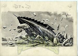 20-000-LEAGUES-UNDER-THE-SEA-Original-Art-NAUTILUS-Japanese-Storybook-x5-DISNEY