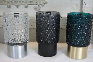 LED-Windlicht-Glas-Blau-Grau-Klar-16cm-Beleuchtung-Dekoration