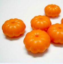 4 Lampwork Glass Orange Pumpkin With Tongue Halloween Beads 15x13mm *