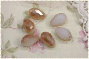 Jewelry & Watches 2pz Gocce Sfaccettate In Vetro Panna/oro Cangiante 1,5x1cm Per Creare Bigiotteri