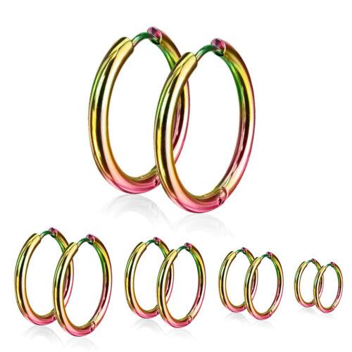 2er Set 316L Stainless Steel Hoop Earrings 10-20 MM Blue Black Rose Gold Silver