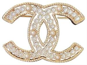 New-2019-Authentic-CHANEL-Classic-CC-Gold-Crystal-Pearl-Extra-Large-Pin-Brooch