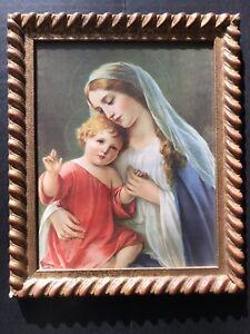 "12"" Old Vtg CARVED Wood Gold Layer Rococo Baroque Frame w Madonna & Child Figure"