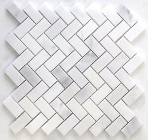 Carrara Herringbone 1x2 Honed Mosaic Tile Floor and Wall