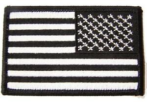 "BLACK /& GREY AMERICAN FLAG right arm PATCH P9021 EMBROIDERED 3/"" BIKER military"