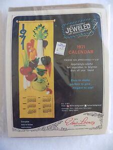1971-Calendar-Jeweled-Art-Needlework-Kit-Edna-Loony-Original-11-034-x33-034-Vintage-NIP