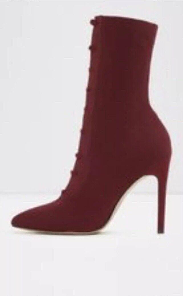 Aldo miassa Enfiler Lacets Rouge Bordeaux Talon Haut Chaussettes Bottes UK 4,5 EU 37,5