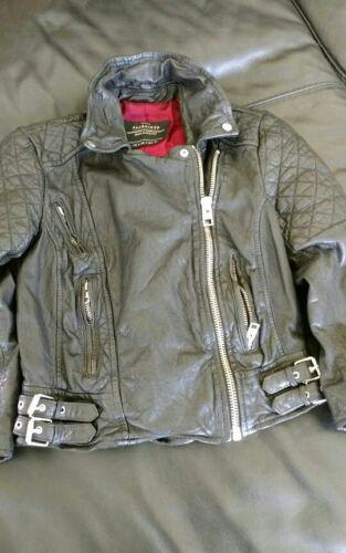 All Saints Voxon quilted biker black leather cropp