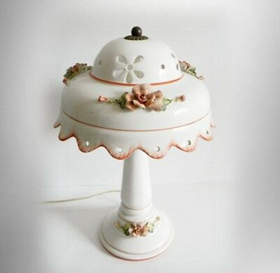 Porcelain lamp w applied floral artist sign - hand made in Italy - FREE SHIP