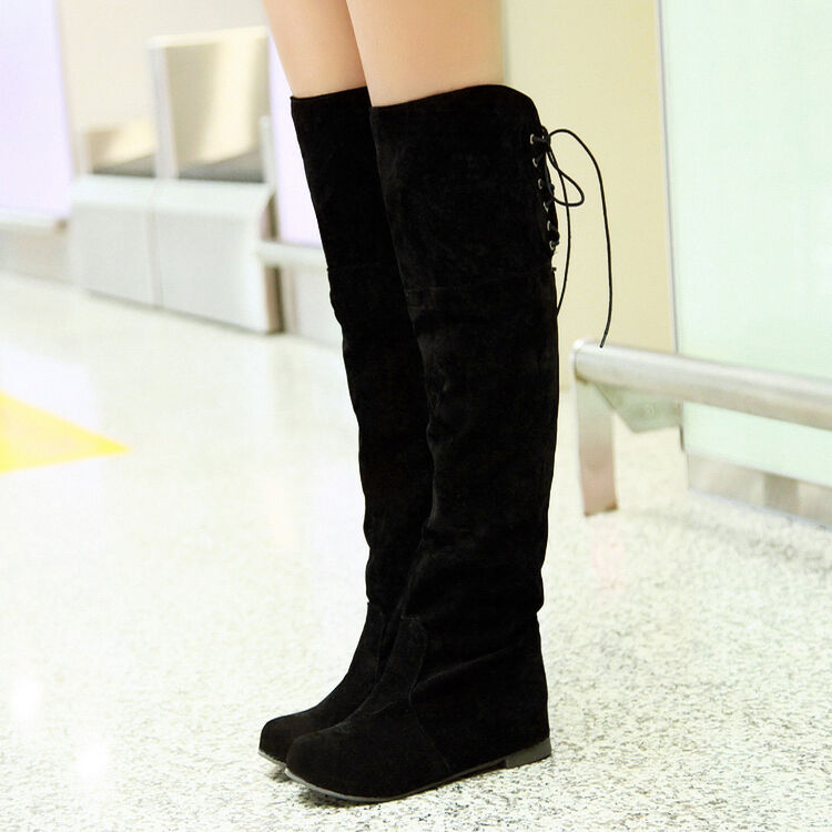 Womens Casual Black Hidden Heel Lace Up Faux Suede Over Knee High Boots Sz 34-47
