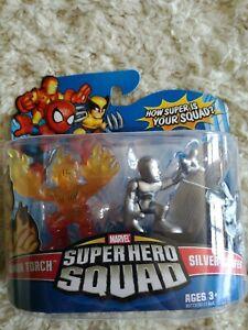"Silver Surfer & Human Torch Groupe de super-héros Marvel 2   Silver Surfer & Human Torch Marvel Super Hero Squad 2"" Zoll 2008 Neu Ovp"