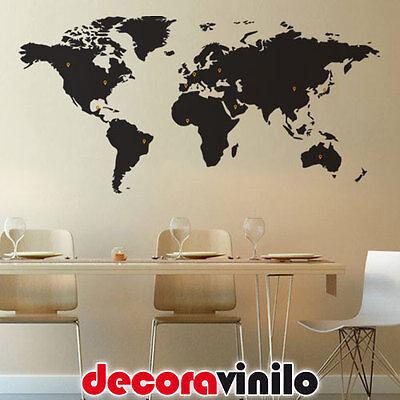 VINILO DECORATIVO PARED PEGATINA MAPA MUNDI + 40 MARCADORES 118X58 MUNDO PAISES