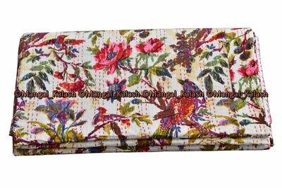 Cotton bird kantha quilt handmade Indian boho bohemian bedding bedspread blanket