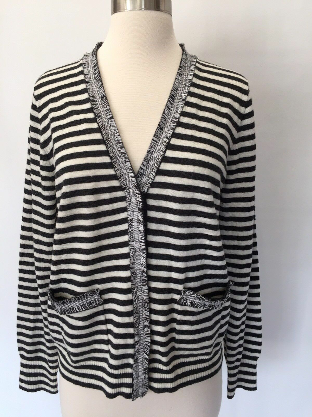 JCREW Striped Harlow cardigan sweater with tweed trim Sz L G9828  89