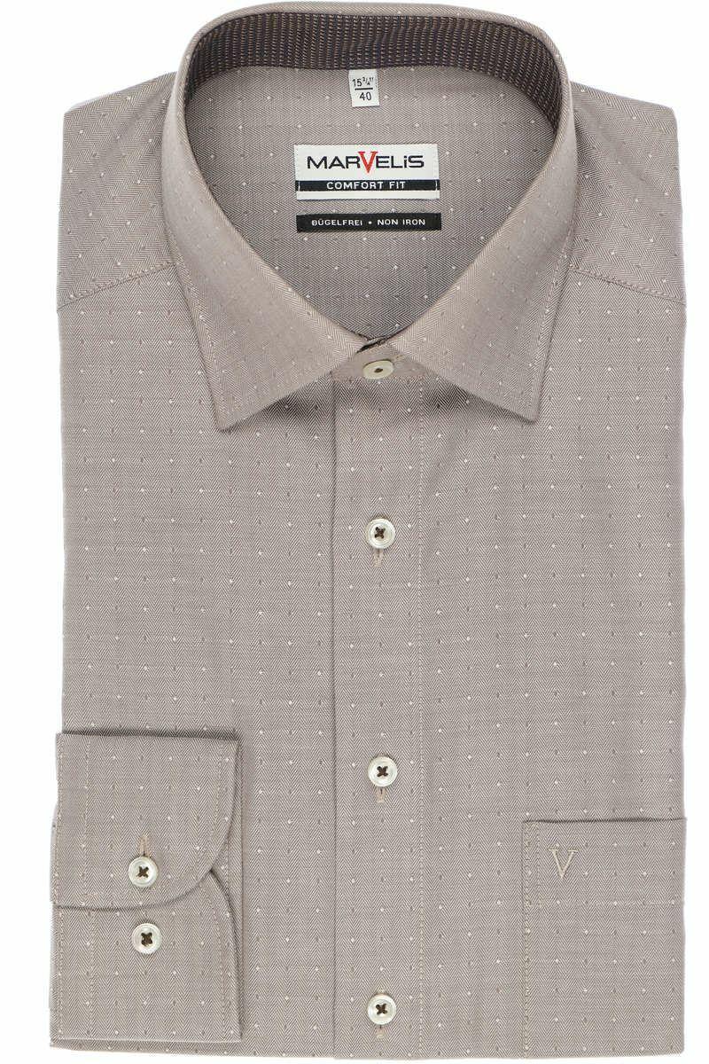 Brown Herringbone Spread Collar