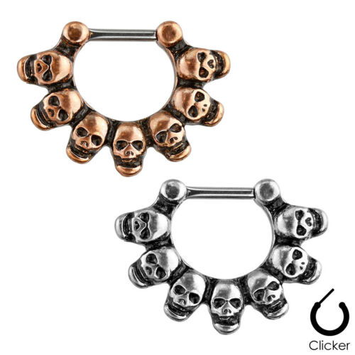 Linked Skulls Septum 16g Clicker Surgical Steel,1-2 pieces,Silver/Brass (SEP62)