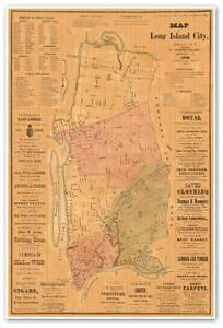 Large Map Of Long Island City Queens County New York Usa Circa