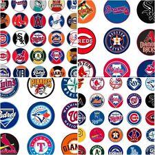100 Precut assorted MLB All BASEBALL Teams BOTTLE CAP IMAGES 1 inch discs