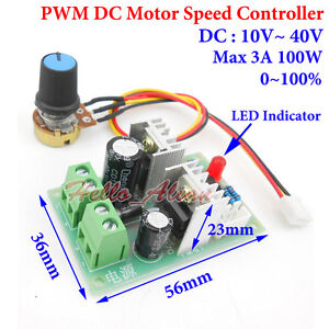 10-40V 12V 18V 24V 36V 3A PWM DC Motor Speed Control Controller Regulator Switch