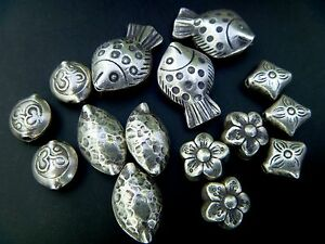 thai il silver etsy market flower spacer sterling bless bead ball beads