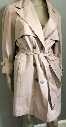 Belted Dusty Rose  Trench Coat leopard lining by
