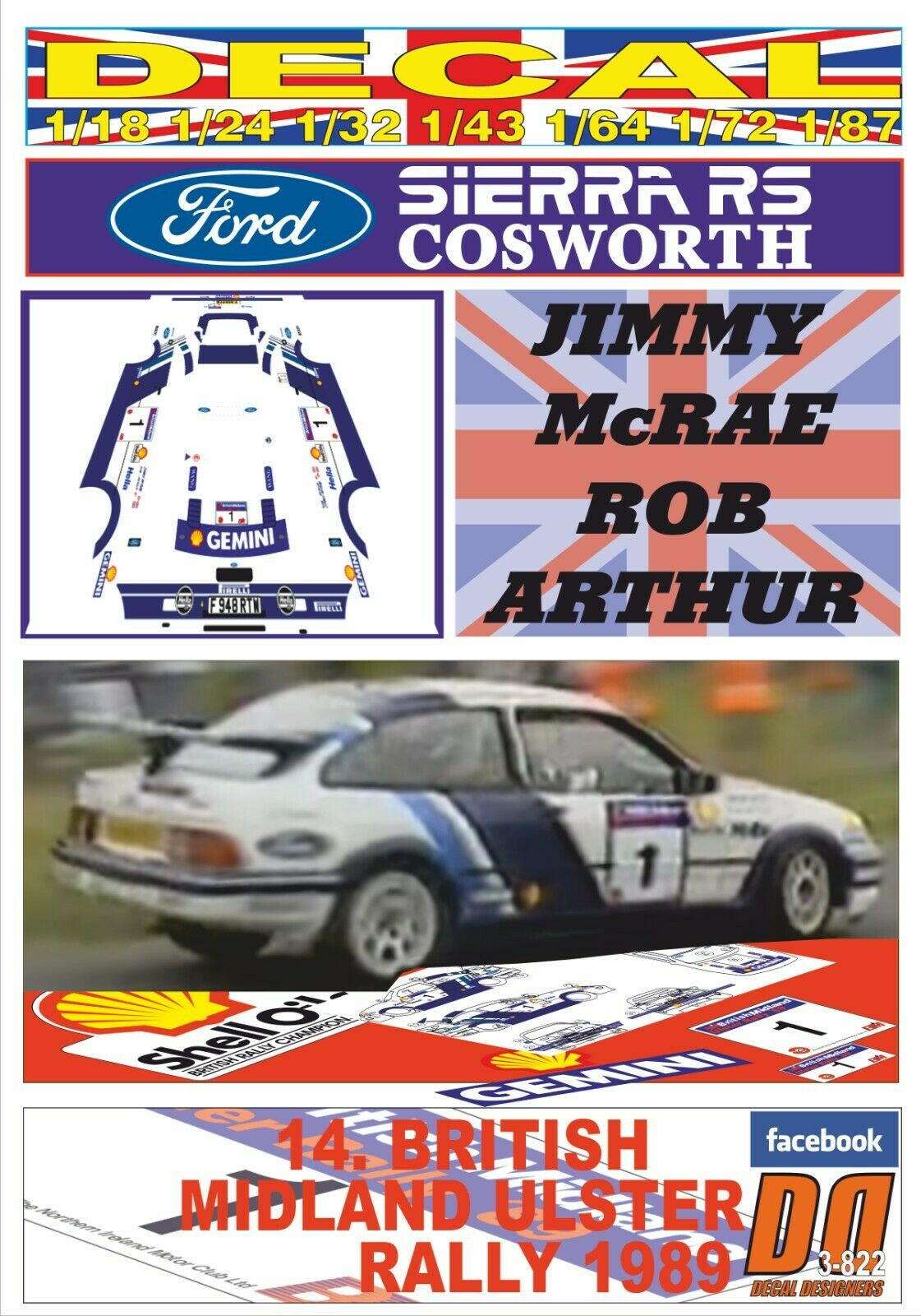 DECAL FORD SIERRA RS COSWORTH JIMMY McRAE ULSTER R. 1989 5th (08)